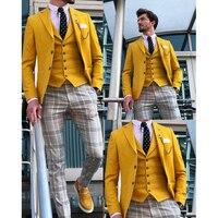 New Designs Casual Yellow Mens Suits Tuxedo 3 Piece Tailored Slim Male Blazer Pants Vest Set Suit for Men Handsome Men's Clothes
