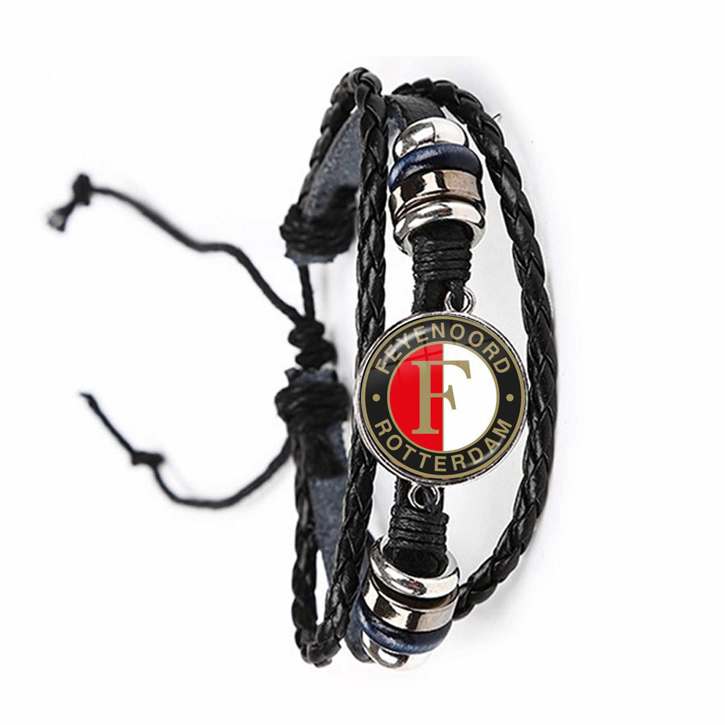 Feyenoord Rotterd Voetbalclub Glas Cabochon Armband Voetbal Competities Logo Voetbal Club Zwart Lederen Bangle Voor Fans Gift