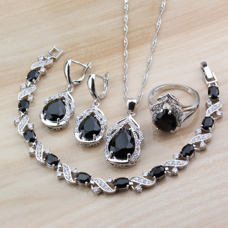 Jewelry-Sets Party-Costume Free-Gift-Box Bracelet/ring 925-Silver Fashion Women New 4PCS