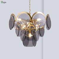 Post Modern Luminarias Led E14 Pendant Lights Gray / Amber Glass Hanging Lamp Adjustable Chain Suspend Lamp For Foyer Lighting