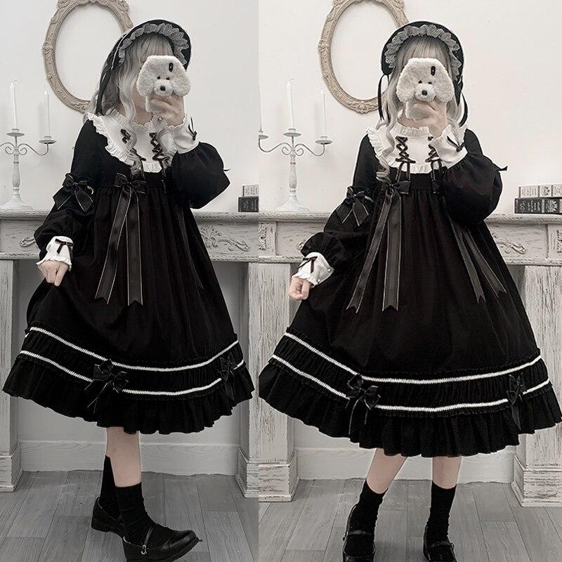 Gothic Palace Sweet Lolita Dress Vintage Bowknot Stand Puff Sleeve High Waist Victorian Dress Kawaii Girl Gothic Lolita Op Cos