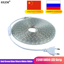 SMD 5050 LED Strip Flexible Light 60leds/m Waterproof Led light AC220V EU Power Plug 1M/2M/3M/4M/5M/6M/8M/9M/10M/15M/20M/25M
