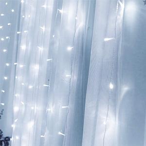 Image 2 - 3×3M Led Curtain Holiday Lights EU 220V Light Decoration Led Fairy Lights Light Curtain Wedding Lights New Year Garland