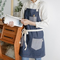 Denim Aprons Florist Coffee Shop Work Apron Household BBQ Cooking Baking Restaurant Kichen Aprons for Women Cleaning Tools