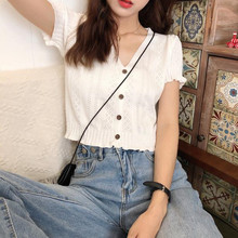 Crop Top Knitted Female Short Sleeve v-Neck Vest Women Camis