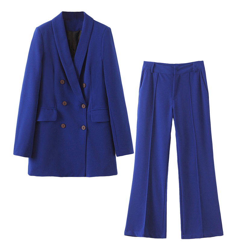 2020 New Autumn BF Style Double-breasted Button Women Blue Blazer High Waist Small Straight Pants Long Sleeve Suits 2 Pieces Set