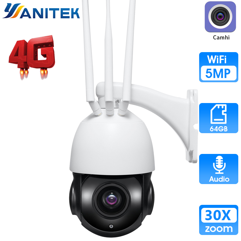 5MP 4G SIM Card 30X Zoom HD 1080P Wireless PTZ Dome Camera Audio 128GB card Cruise Tour Metal CCTV Security Camera|Surveillance Cameras| |  - title=