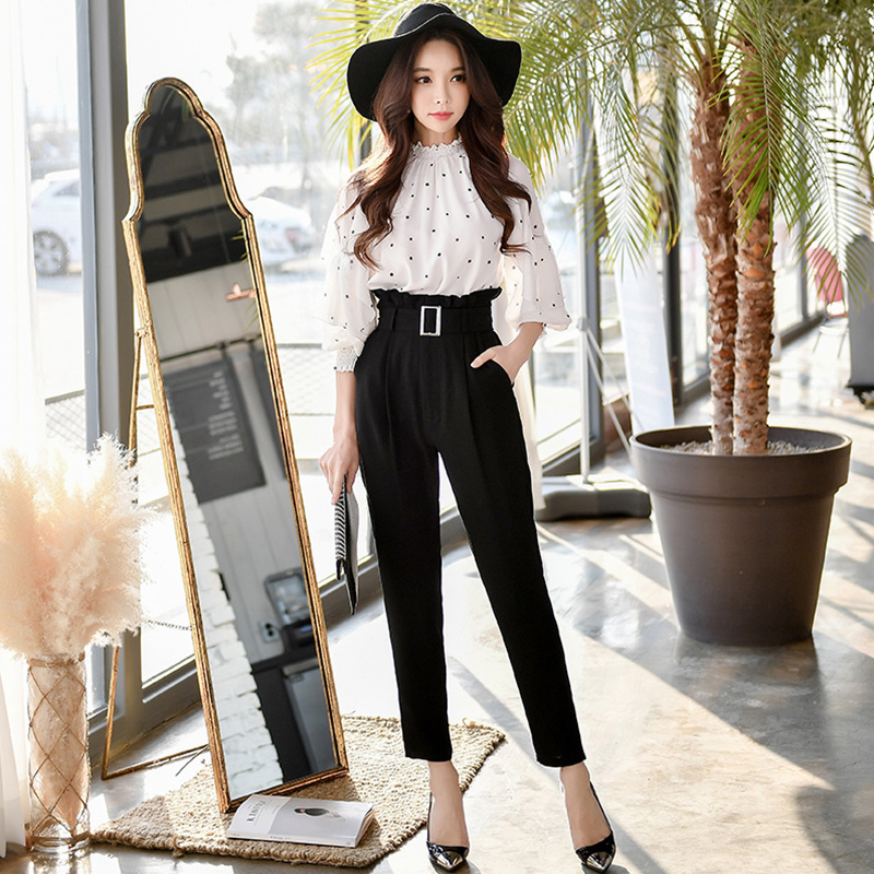 Dabuwawa Paperbag Waist Self Belted Casual Pants Women Bottoms High Waist Office Ladies Skinny Solid Trousers D18ALP006