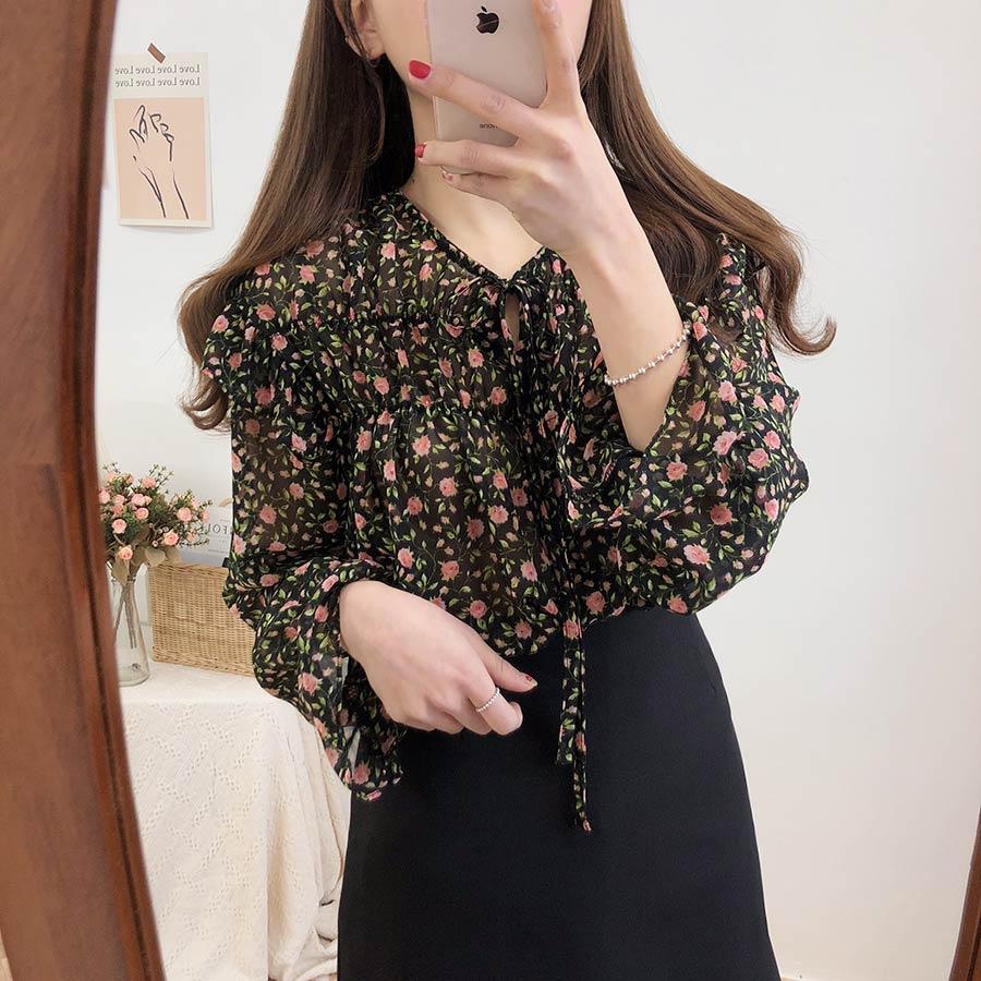Hcda9e459d27e48268903630e3afada8bE - Spring / Autumn Lace-Up Collar Long Sleeves Floral Print Blouse