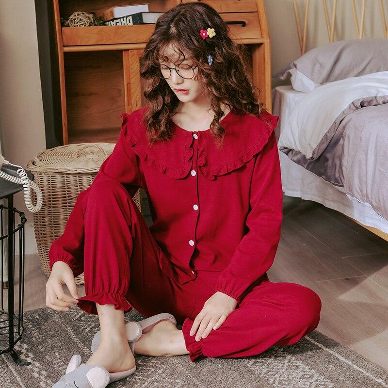 Image 5 - Women Full Cotton Pajamas Wedding Festive Red Pajamas Sets Sleepwear Long Sleeve Top+Long Pants Pajamas Home Clothing PyjamasPajama Sets   -