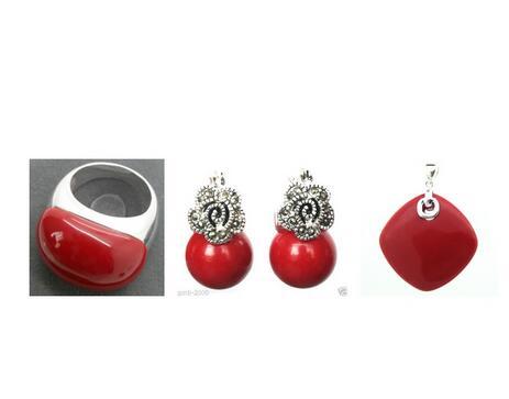 Joli corail rouge sculpté laque Marcasite 925 bague en argent Sterling (#6-9) boucles d'oreilles et Pandent ensembles de bijoux