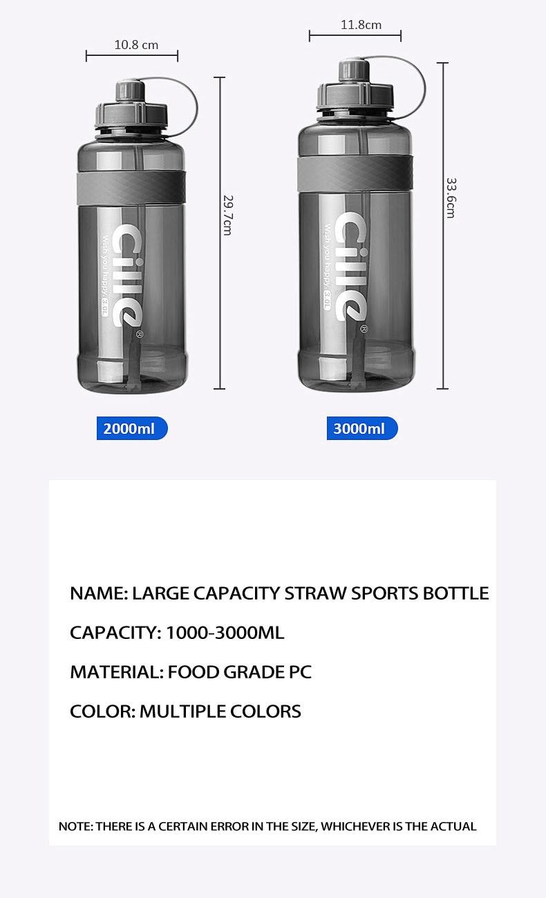 Hcdaa21d6148644ebadb3f2319055a43fB 1L 2L 3L Large Capacity Sports Water Bottles Portable Plastic Outdoor Camping Picnic Bicycle Cycling Climbing Drinking Bottles