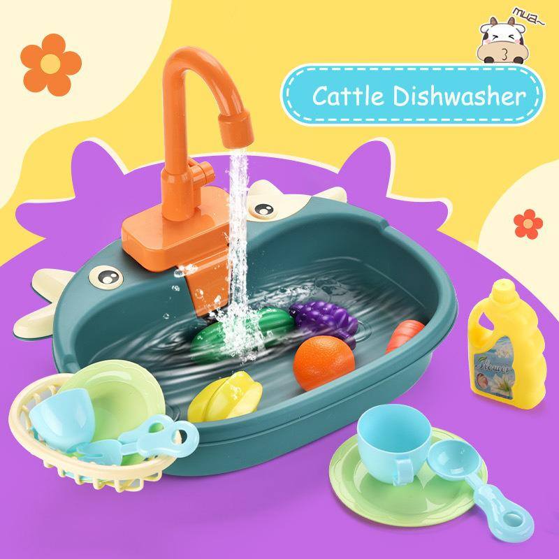 Baby Pretend Play Toy Simulation Kitchen Sink Electric Dishwasher Set Educational Toys Kids Play House Game Gift for Children