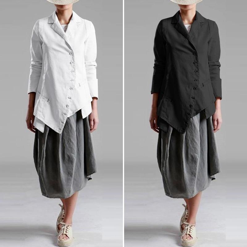 ZANZEA Ladies Blazers 2020 Fashion Women Asymmetrical Hem Blazer Jackets Single Breasted Suits Outwear Coats Casaco Plus Size
