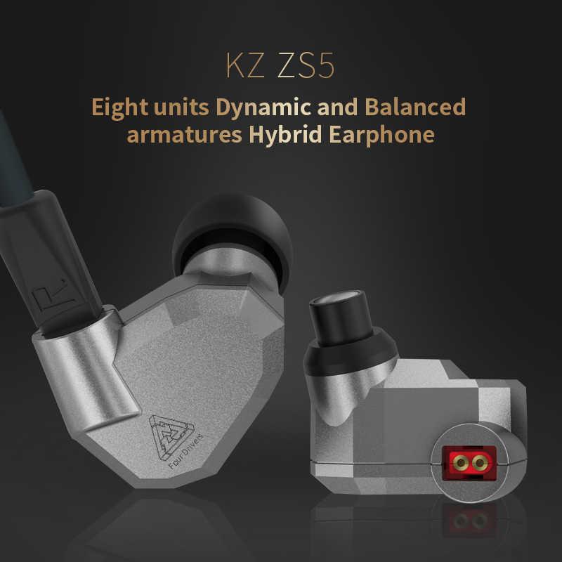 KZ ZS5 2DD + 2BA hybrydowy w ucho słuchawki HIFI DJ Monitor słuchawki sportowe KZ AS10 ZS6 słuchawki douszne dwa kolory