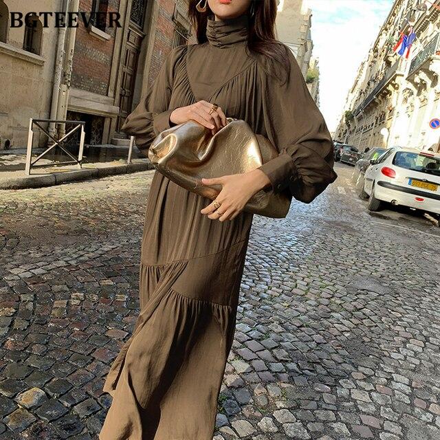 Elegant Long Sleeve A-line Turtleneck Dress  2