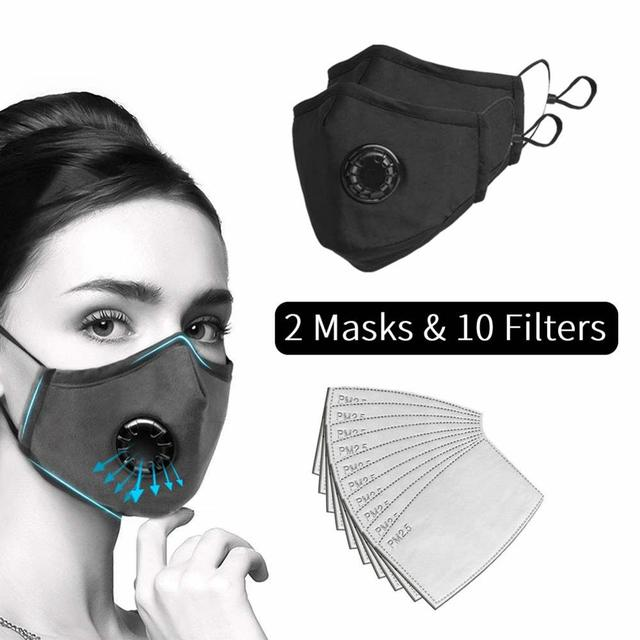2PCS Valve Masks with 10PCS PM2.5 Activated Carbon Filters Face Mask Cotton Washable Respirator Breathing Black Mask