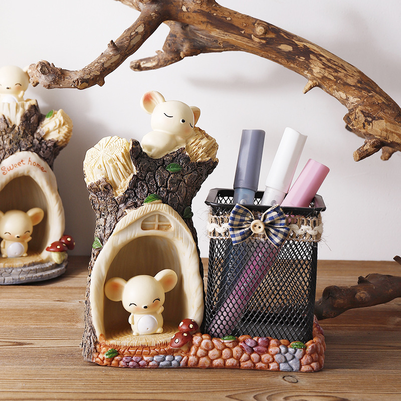 Cute Big Eared Cute Mouse Creative Pen Holder Decoration Student Gift Decoration Decoration Resin Crafts