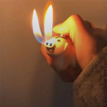 New Hot Sale Creative Pig Style Gas Lighters Rechargeable Double Fire Starter Spurted Nose for Cigarette Candle Kitchen