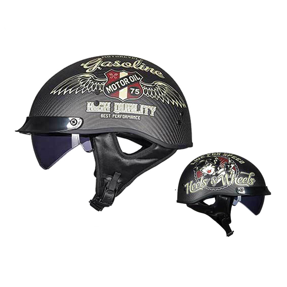 GXT Carbon Fiber Motorcycle Helmet Moto Helmet Vintage Scooter Half Face Retro Biker Motorbike Helmet Capacete De Motocicleta