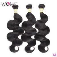 WOME Brasilianische Menschliches Haar Bundles Körper Welle Bundles 1/3/4 teile/los 10-26 Zoll Natürliche Farbe nicht-remy Haar Weave Extensions