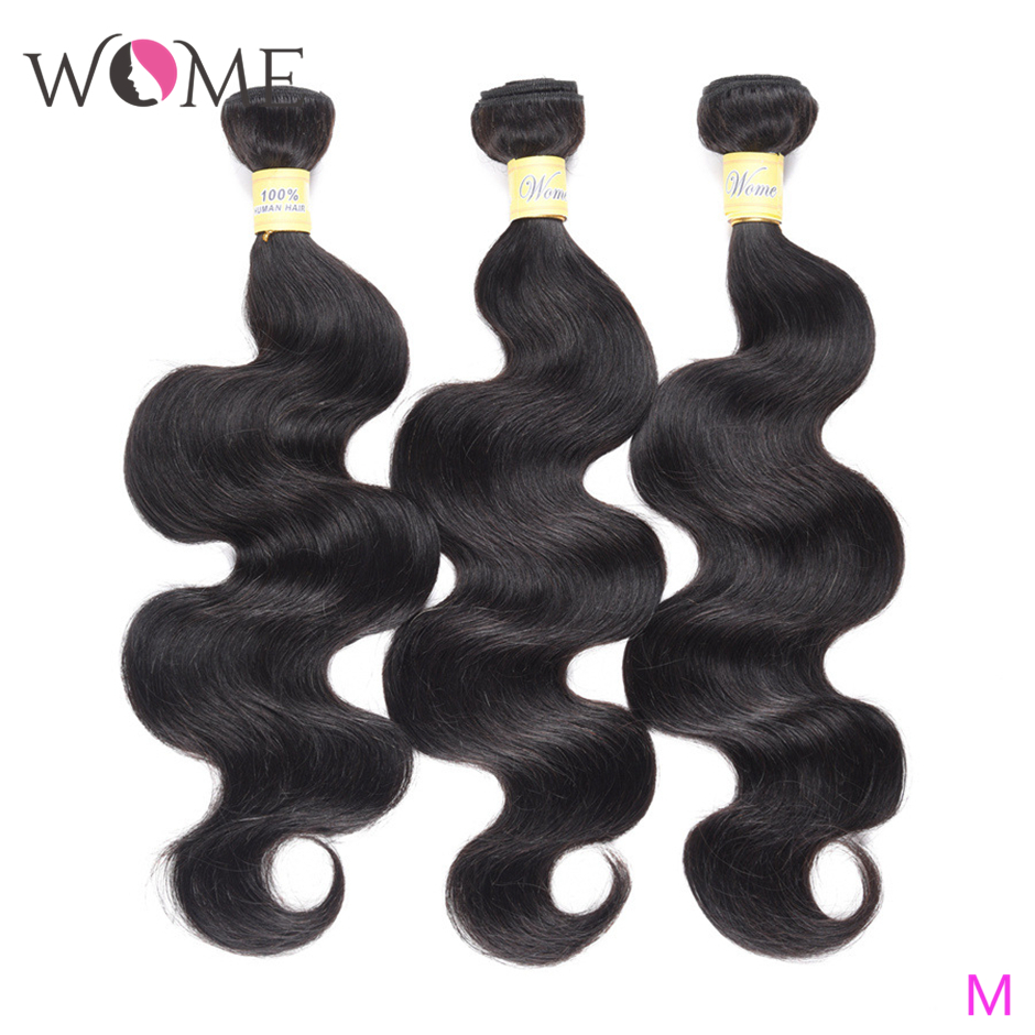 WOME Brazilian Human Hair Bundles Body Wave Bundles 1/3/4 Pcs/lot 10-26 Inches Natural Color Non-remy Hair Weave Extensions