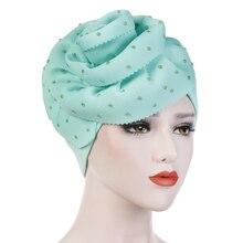 Novo muculmano oversized flor turbante solido algodao indiano quimio osso cabeca cobre festa acessorios chapeu moda elegante de