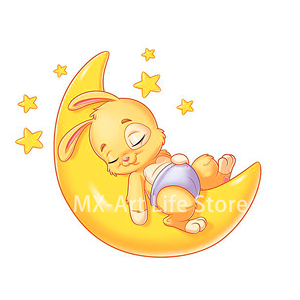 2020 Lovely Bunny Rabbit on the Moon Cutting Dies Animal Baby Doll Craft Stencil for DIY Scrapbooking Cards Decorative(China)