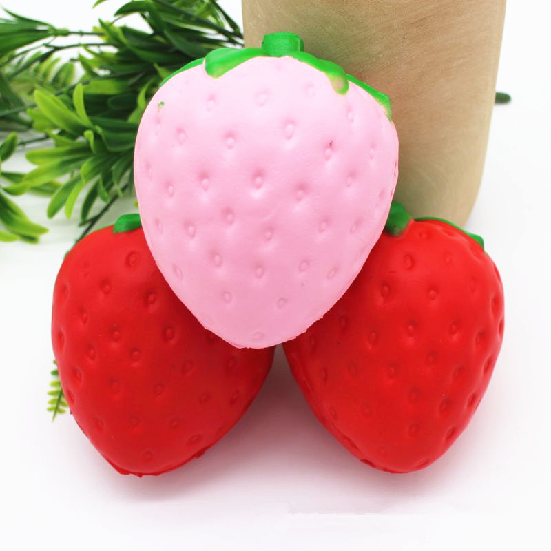 Strawberry Squishy Slow Rising 11.5x9.5cm Jumbo Cute Straps Sweet Cream Charms Kawaii Pendant Bread Kids Toy Gift Pink/Red