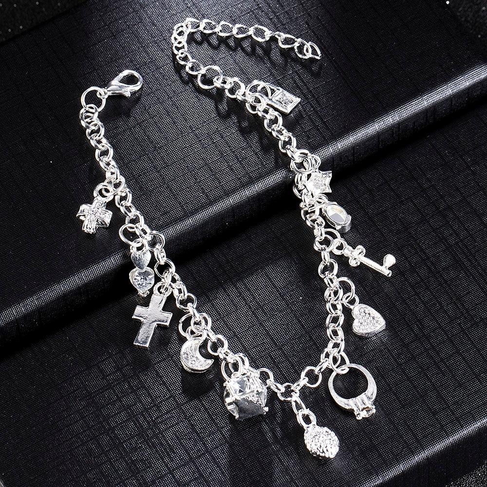 New Women 12 Charms Pendant Chain Bracelet Plated Crystal Cross Heart Moon Stars Chain Barcelets Bangles Mens Jewellery