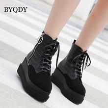 BYQDY Fashion PU Leather Warm Women Winter Boots Platform Lace-up Female Casual Shoes Ladies Ankle mulheres