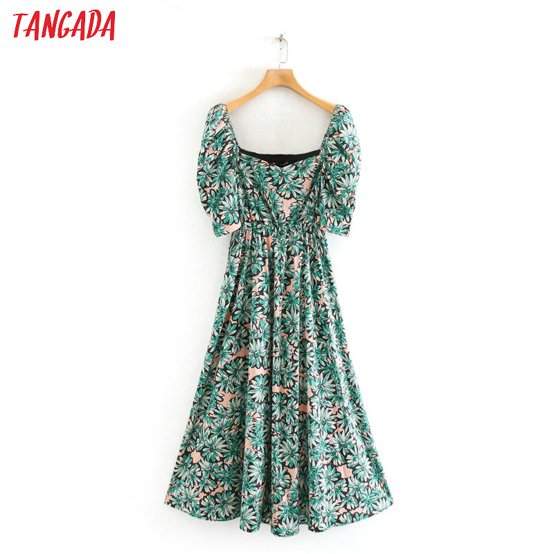 Tangada Women Flowers Print Green Maxi Dress Puff Short Sleeve Ladies Vintage Beach Long Dress Vestidos 2XN23