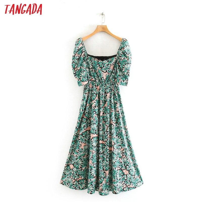 Tangada Women Flowers Print Green Maxi Dress Puff Short Sleeve Ladies Vintage Beach Long Dress Vestidos 2XN23