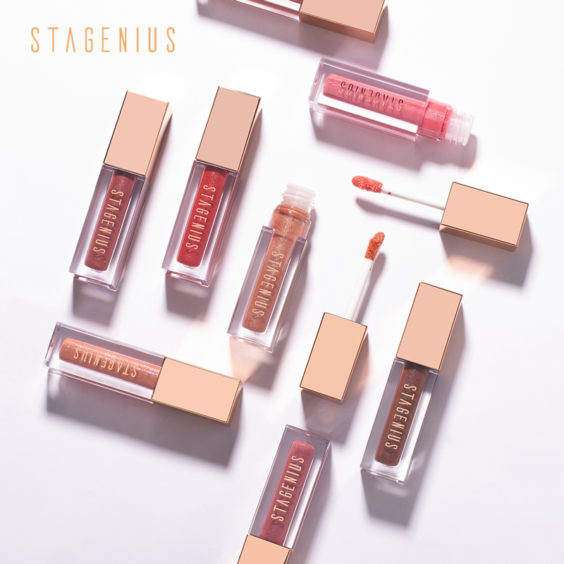 STAGENIUS Liquid Lipgloss Waterproof Long-lasting Non Stick Shimmer Moisturizer Lip Gloss Glitter Makeup Lips