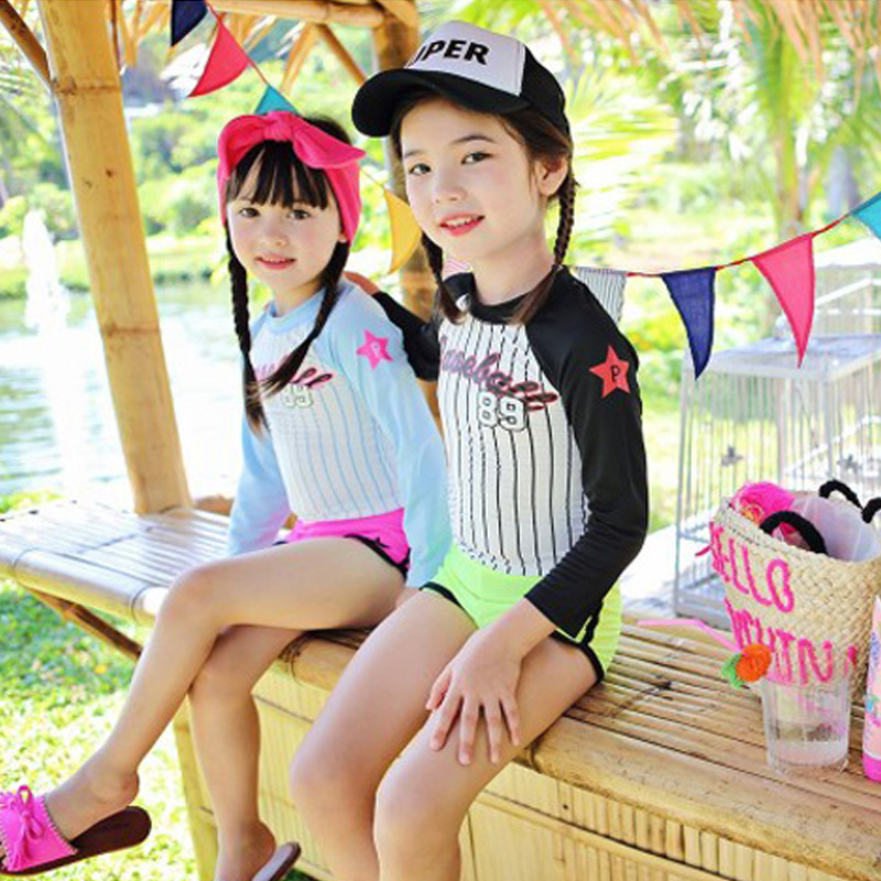 CHILDREN'S Swimwear Split Two Piece Set Boxer Sports Shorts Long Sleeve Sun-resistant Middle And Large Girls GIRL'S Students Tou