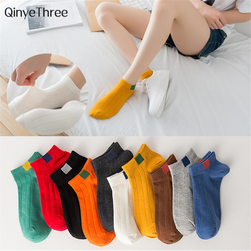 New Fashion Women's Collage Wind Vintage Socks Chic Streetwear Sokken With Candy Color Label Printing Wild Girls Boat Sokken