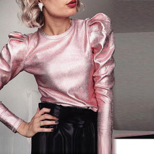 Slim Fit O-Neck Tops Fashion Velour Puff Long Sleeve Spring Women Gold Silver Autumn Shirts