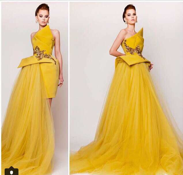 2018 Strapless Yellow Tulle Prom Evening Gown Hot Sale Net Long Train Short Skirt Vestido De Noiva Mother Of The Bride Dresses