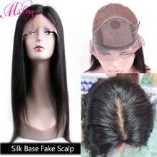 Base de seda perucas de cabelo humano em linha reta frente do laço perucas de cabelo humano falso peruca do couro cabeludo pré arrancadas perucas brasileiras para as mulheres remy ms amor
