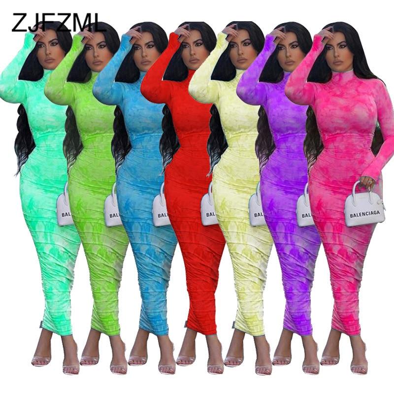 Printed Ruched Sexy Wrap Dress Women Turtlenecks High Waist Bodycon Maxi Long Dresses Long Sleeve Party Night Club Bandage Dress
