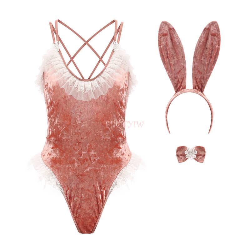 Fransız oynak tavşan seksi Cosplay kostümleri kadın tavşan parti erotik iç çamaşırı kıyafet fantezi kadife Bodysuit dantel Teddy Catsuit