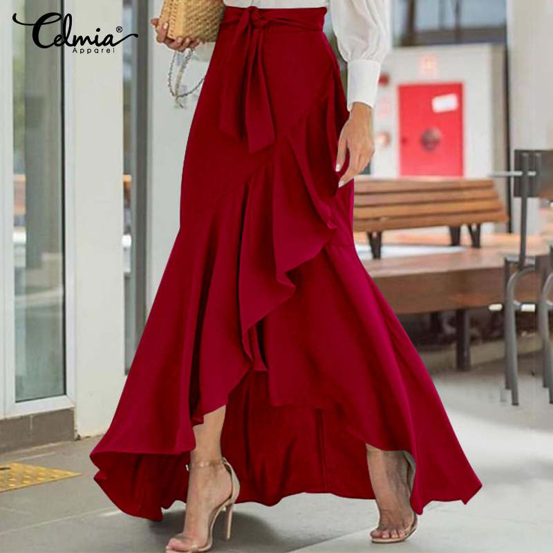 Celmia Fashion Maxi Skirts 2021 Fashion High Waist Belted Party Long Skirt Casual Loose Asymmetrical Ruffles Skirts Plus Size