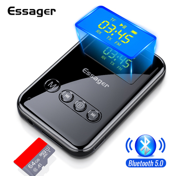 Essager Bluetooth 5.0 Transmitter Receiver 3.5mm Jack Aux Audio Wireless Adapter For PC TV Headphone Car Bluetooth Receiver siroflo bluetooth transmitter receiver with nfc audio 3 5mm aux bluetooth adapter for pc smartphone bluetooth receiver