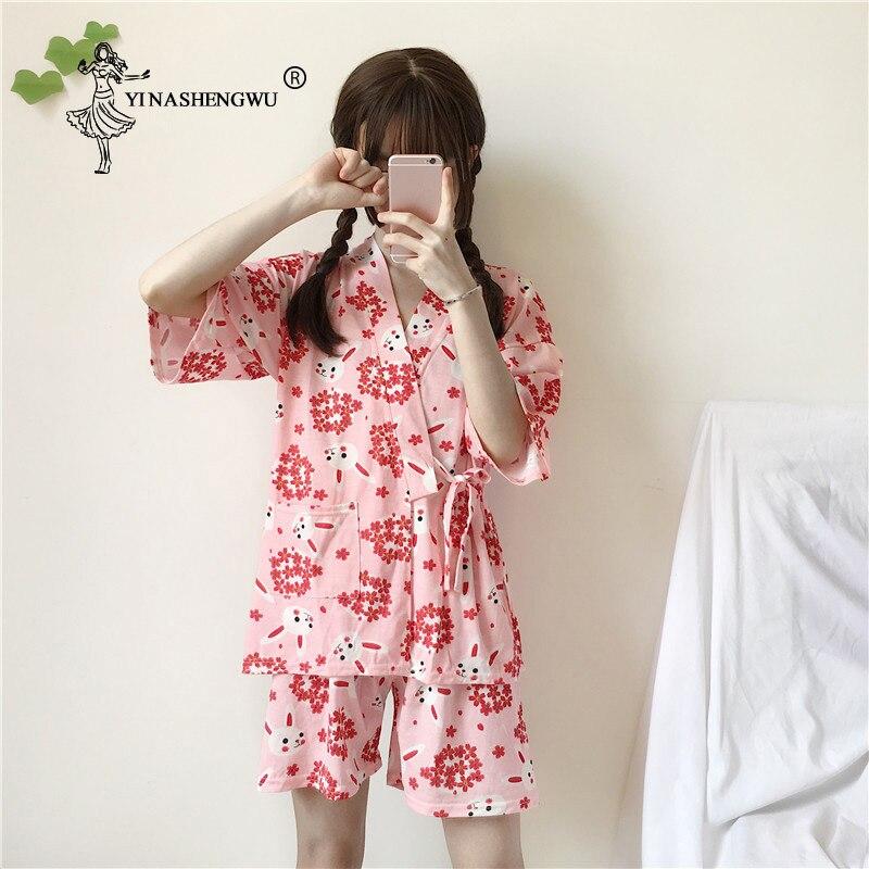 Kimono Women Short Pajamas Sets Asia Japan Yukata Cotton Shorts Bathrobes Short Sleeves Homewear Japanese Kimono Sakura Rabbit