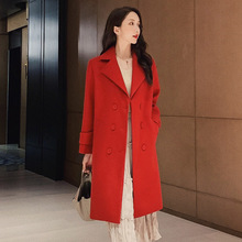 Wool Blend Women Autumn Winter Coat Long Sleeve Elegant  Outwear Female High Streer