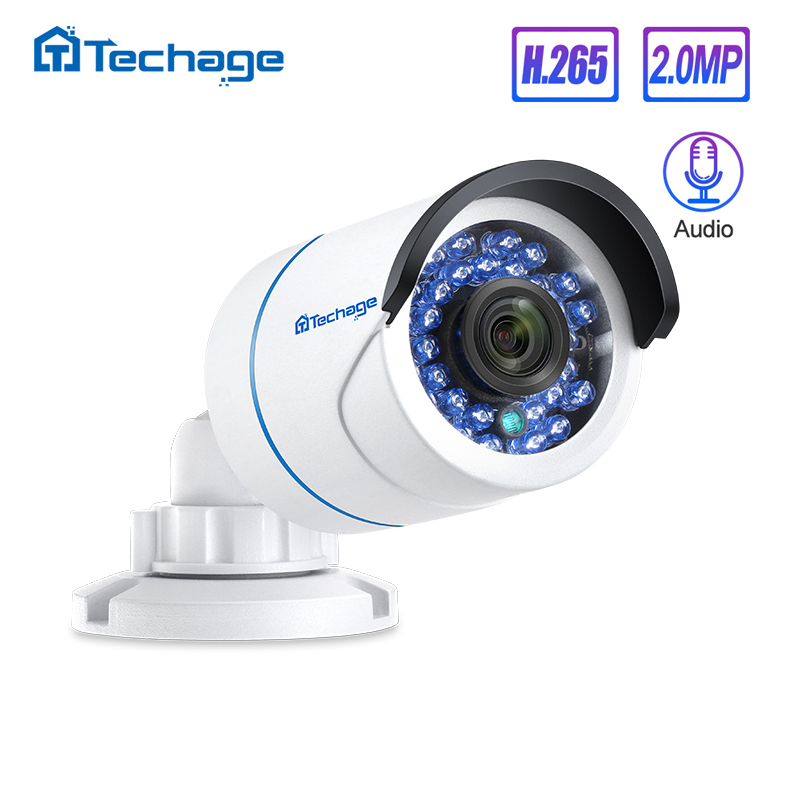 Techage H.265 1080P 48V POE Cámara IP 2MP Audio Micrófono IR Exterior Impermeable P2P ONVIF CCTV Video Vigilancia de seguridad