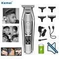 Kemei máquina de cortar cabelo lcd display digital máquina de cortar cabelo elétrica navalha aparador de cabelo dos homens prata KM-5027 sem fio 5