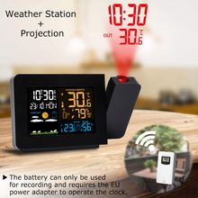 LED Alarm Projection Clock Thermometer Hygrometer Wireless W
