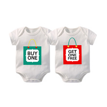 Twins Baby clothes Christmas Gift Buy one Get one free Boy/Girl Shirt or Baby Bodysuit twin matching outfits 0-12M Newborn Rompe bangladesh baby country series white blue or pink baby one piece bodysuit
