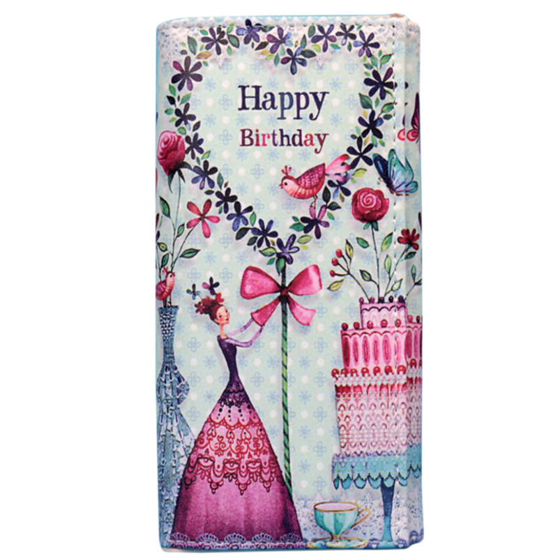 Women Floral Print Carteira Coin Pocket Cartoon Long Purse Large Capacity Clutch Phone Bag PU Leather Ladies Card Holder Wallet